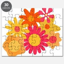 1960s vintage mod floral pink orange Puzzle
