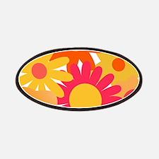 1960s vintage mod floral pink orange Patch