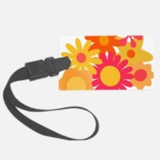 1960s vintage mod floral pink or Luggage Tag
