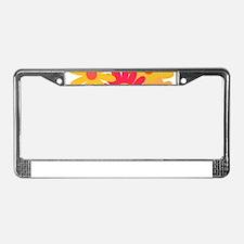 1960s vintage mod floral pink License Plate Frame