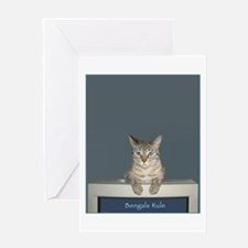 Bengal Snow Leopard Cat ~ Greeting Card (Blank)