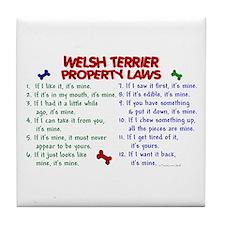 Welsh Terrier Property Laws 2 Tile Coaster