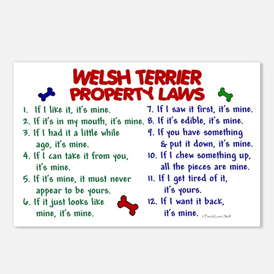 Welsh Terrier Property Laws 2 Postcards (Package o