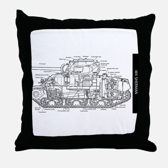 M4 SHERMAN CUTAWAY Throw Pillow