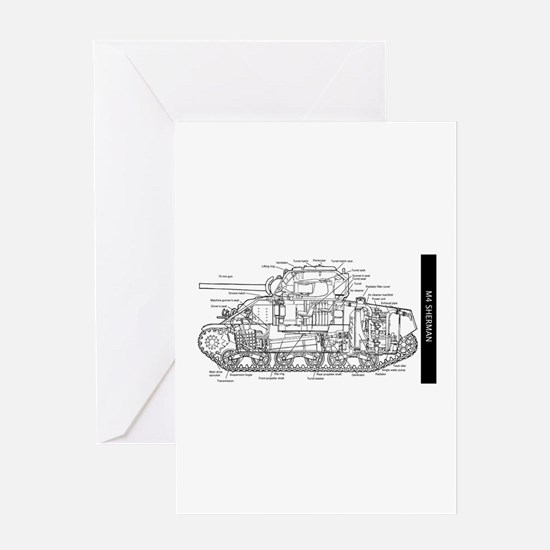M4 SHERMAN CUTAWAY Greeting Cards