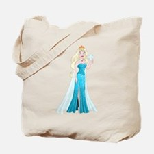 Snow Princess In Blue Dress Holds Snowfla Tote Bag