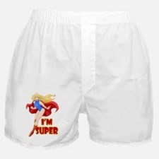 Woman Super Hero Flying With Cape Boxer Shorts