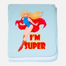 Woman Super Hero Flying With Cape baby blanket