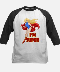 Woman Super Hero Flying With Cape Baseball Jersey