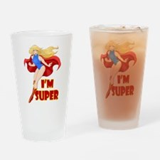Woman Super Hero Flying With Cape Drinking Glass