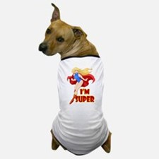 Woman Super Hero Flying With Cape Dog T-Shirt