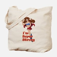 Woman Super Hero Shows Muscled Arm Tote Bag