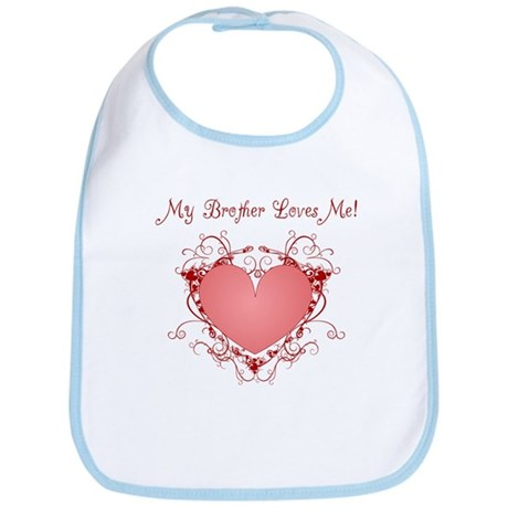 My Brother Loves Me Heart Bib