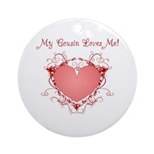 My Cousin Loves Me Heart Ornament (Round)