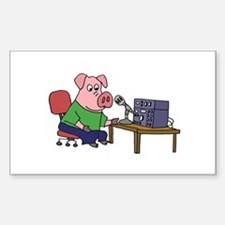Pig using HAM radio Decal