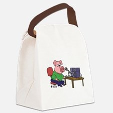 Pig using HAM radio Canvas Lunch Bag