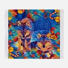Holiday Wolves Throw Blanket