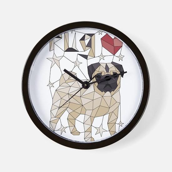 Geometric Pug Wall Clock