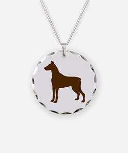 Doberman Two 2 Brown Necklace