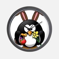 Happy Easter Penguin Wall Clock