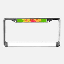 groovy mod floral License Plate Frame