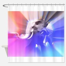 Digital Rainbow Elephant Shower Curtain