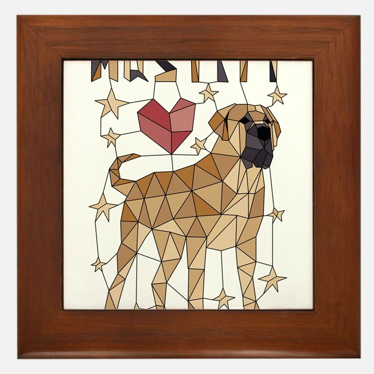 Geometric Mastiff Framed Tile