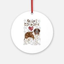 Geometric Saint Bernard Round Ornament