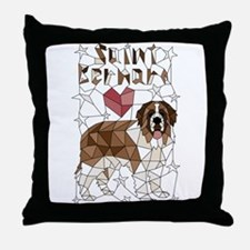 Geometric Saint Bernard Throw Pillow