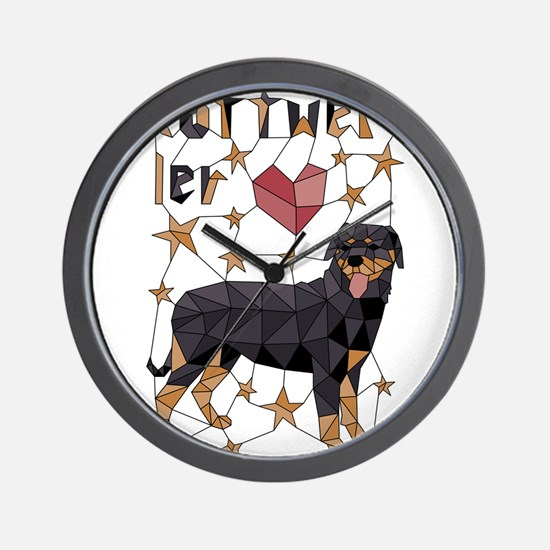 Geometric Rottweiler Wall Clock