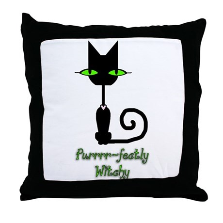 Purrrr~fectly Witchy! Throw Pillow