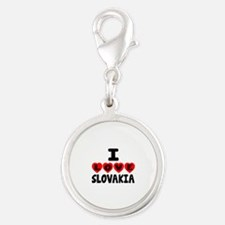 I Love Slovakia Silver Round Charm