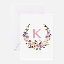 Watercolor Floral Wreath Monogram Greeting Cards