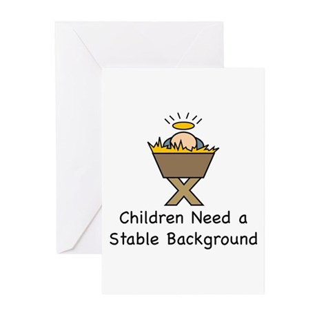 STABLE BACKGROUND Greeting Cards (Pk of 10)