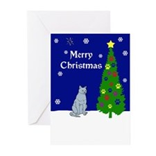 Russian Blue Christmas Greeting Cards (Pk of 10)