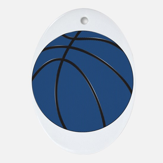 Blue and Black Basketball Oval Ornament