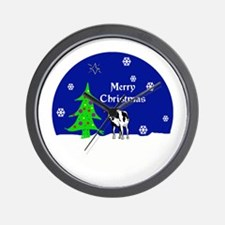 Holstein Cow Merry Christmas Wall Clock