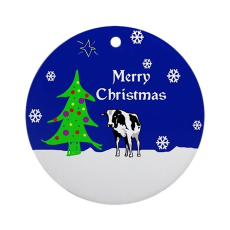 Holstein Cow Merry Christmas Ornament (Round)