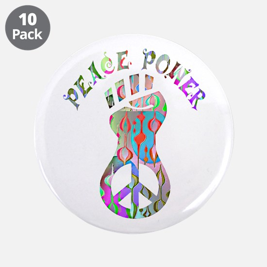 "PEACE POWER 3.5"" Button (10 pack)"