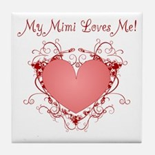 My Mimi Loves Me Heart Tile Coaster