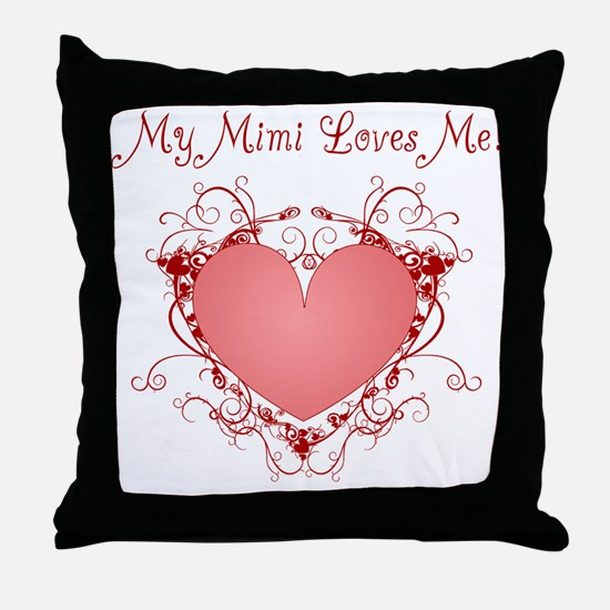 My Mimi Loves Me Heart Throw Pillow