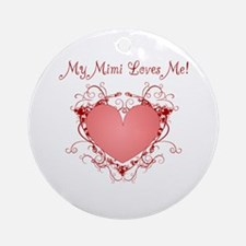 My Mimi Loves Me Heart Ornament (Round)