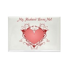 My Husband Loves Me Heart Rectangle Magnet