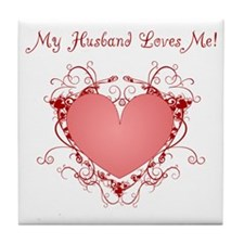 My Husband Loves Me Heart Tile Coaster