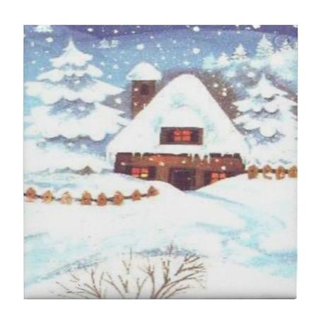 Winter Cottage Tile Coaster