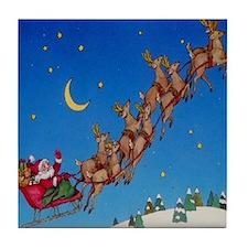 Santa`s Sleigh & Reindeer Tile Coaster