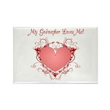 My Godmother Loves Me Heart Rectangle Magnet