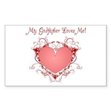 My Godfather Loves Me Heart Rectangle Decal
