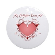 My Godfather Loves Me Heart Ornament (Round)