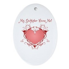 My Godfather Loves Me Heart Oval Ornament